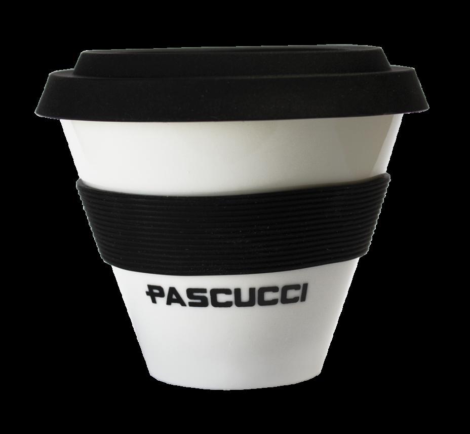 Caffè Pascucci 51135 cappuccino tazza asporto porcellana fascia nera